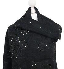 Black 100% Pure Wool Pashmina Indian Embroidered Shawl Wrap Stole Hijab Kashmiri