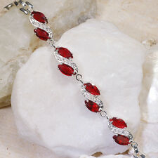 """10Ct Red Ruby & White Topaz Victorian Style Silver Bracelet 7"""" Gbr244L"""