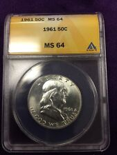 1961 Franklin Silver Half Dollar Graded By Anacs At MS64