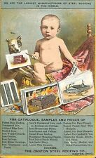 1800's Pioneer Canton OH Steel Roofing Color Catalog Dog Baby Rare Postcard