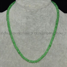 Faceted 4x6mm Light Green Emerald Rondelle Gemstone Beads Necklace 16-30''