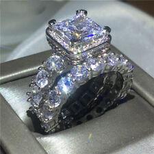 3Ct Princess Cut Diamond Bridal Set Engagement Ring 14K White Gold