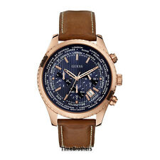NEW GUESS WATCH for Men * Rose Gold * World City Bezel * Brown Leather U0500G1
