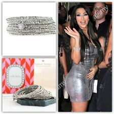 Stella & Dot Bardot Spiral Bangle Bracelet Silver New In Box