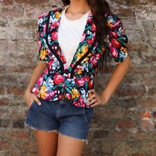 80s vintage multi coloured tulip flower pattern fitted jacket by MISS OOPS
