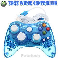 Luminescenza BLU cablato USB CONTROLLER GAMEPAD fit for Microsoft XBOX 360 PC UK Venditore