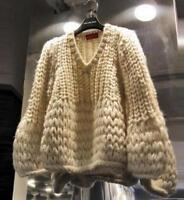 Chic Women Loose V Neck Knitted Sweater Pullover Lantern Sleeve Hollow Coat DD