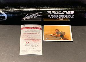 Vladimir Guerrero Jr Blue Jays Signed Engraved Bat JSA WITNESS COA Black -