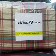 Eddie Bauer Montlake Plaid Cotton Flannel Sheet Set Queen NEW red blue ben c pic