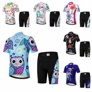 Kids Cycling Kit Boys Girls Short Sleeve Cycle Jersey and Padded Shorts Set