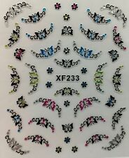 Nail Art 3D Decal Stickers Beautiful Butterflies Rhinestones Tips XF233