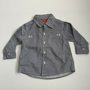 Sprout Long Sleeve Button Up Shirt Size 1 Navy & White Collared
