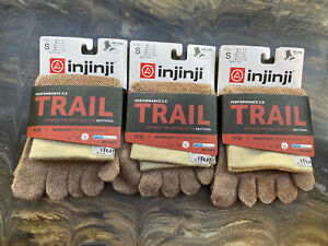 Injinji Performance Trail Midweight Mini Crew Length Toe Socks Oat Small 3pk