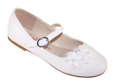 Girls Childrens White Ballerina Flat Shoes Flower Girl Bridesmaid Party Dress Up