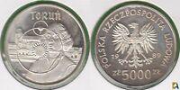 POLONIA - POLSKA. 5000 ZLOTYCH DE 1989. PLATA 0.750.