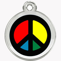 Stainless Steel Enamel Pet ID Tags Designers Round Peace Sign by CNATTAGS