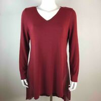 Soft Surroundings Womens Tunic Top Red Long Sleeve V-Neck High Low Blouse M