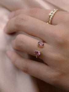 Pink Sapphire & Tourmaline Oval Cut 2.00CT Diamond 14K Yellow Gold Finish Ring