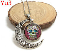 Handmade rose bling sugar skull Hollow Moon Pendant Silver Necklace#Yu3