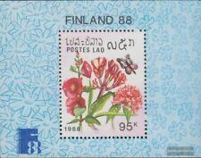 Laos Block124 (kompl.Ausg.) postfrisch 1988 Schmetterlinge und Blumen