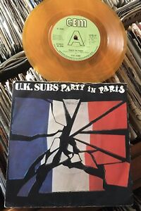 "U.K.SUBS:""PARTY IN PARIS"".1980 GEM+ORANGE VINYL+PICTURE COVER.EXCELLENT EXAMPLE!"