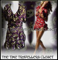 Topshop Kate Moss Iconic Purple Floral Pansy Wrap Mini Tea Dress Vintage UK 6 8