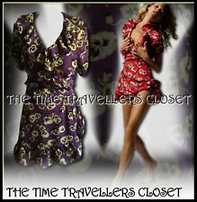 Topshop KATE MOSS icónico Púrpura Floral Vestido Mini Envoltorio De Pensamiento Té Vintage UK 14