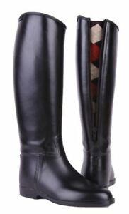 Ladies Mens Riding Boots Knee High Back Zip Waterproof Leather Easy Clean Spur