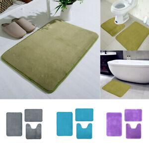 Soft Coral Velvet Memory Cotton Mat Bathroom Absorbent Non-slip Carpet 3 pcs/set