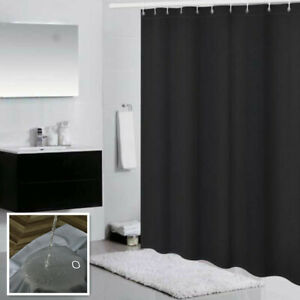 Shower Curtain With Free Hooks Waterproof Fabric Bathroom Partition Weighted Hem