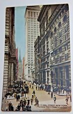 Vintage 1910s WALL STREET New York City Postcard