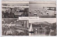 Ansichtskarte Waging am See - Strandkurhaus/Innenansicht/Ortsansicht/Schwäne s/w