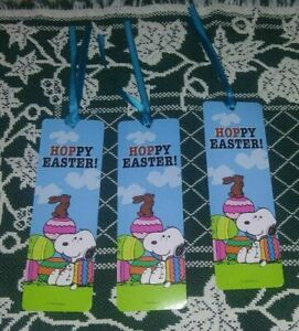 3 Peanuts Bookmarks Snoopy Hoppy Easter Bunny Eggs Spring FREEShipOn$20