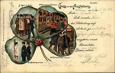 """1902 Stempel Mannheim auf Militär-AK """"Gruss vd. Aushebung"""" Kleeblatt Musterung"""