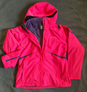 Womans Columbia Interchangable Jacket. Pink Shell And Purple Fleece Great Shape!
