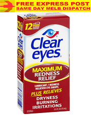 Clear Eyes Lubricant Maximum Strength Redness Relief Eye Drops 15mL FREE EXPRESS