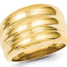 14K Gold Ring 14mm Wide Cigar Swirl Dome Stacked Band 14K Yellow Gold Sizes 4-8