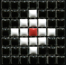 49 Ceramic Mosaic Tiles 1x1 Black, White, Red