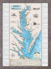Framed Shipwrecks of the Chesapeake Bay Chart - Nautical Art Print Map