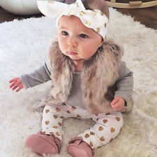 4PCS Newborn Baby Boy Girl Outfits Clothes Romper Tops+Pants+Hat+Headband Set UK