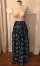 Vintage 1960s Floral Psychedelic High Waist Maxi Skirt Made In England Sz S