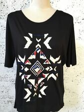 Hip Length Geometric Plus Size Graphic T-Shirts for Women