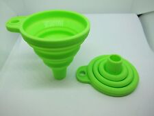 2 X Silicone Funnel Collapsible Foldable Fold heat resistant oil water liquid