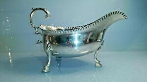 1780 Georgian solid silver sauce boat with hoof feet George III reign