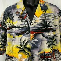 Royal Creations Hawaiian Camp Shirt XXL Grey Yellow Button Up Sunset Boat Orchid