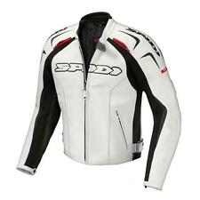 "SPIDI TOP OF THE LINE ""TRACK"" MOTORCYCLE RACE DAY LEATHER JACKET BLACK WHITE"