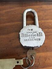 Vintage American Usa Hardened Padlock Series 600 With 1 Key Long Shank