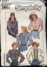 Simplicity 8181 Sewing Pattern Classic Loose-Fitting Button Front Shirts 8 10 12