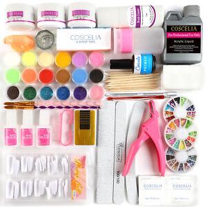 120ML Acrylic Liquid Powder Nail Art Kit UV Gel Glue Tips Tool Care Manicure Set