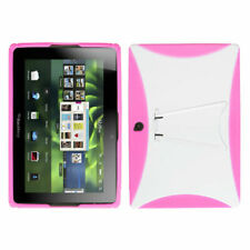 For Blackberry Playbook Solid White/Solid Hot Pink Stand Gummy Case Cover